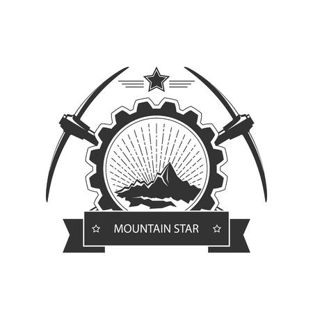 mining: Emblema de la vendimia de la industria minera, eje de la etiqueta y la mía insignia, la minería, la ilustración vectorial