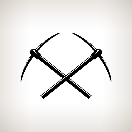 finder: Silhouettes of two crossed pickaxes on a light background, hand tool with a hard head attached perpendicular to the handle ,black and white vector illustration