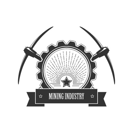 iron ore: Vintage emblem of the mining industry, label and badge mining, vector illustration