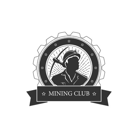 Vintage emblem of the mining industry,miner holding a pickax on a background of the sunburst, label and badge mine shaft, mining, vector illustration Stock Illustratie