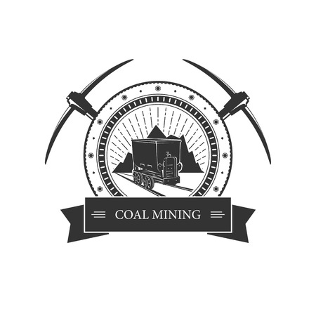 Vintage emblem of the mining industry, coal mine trolley against mountains and sunburst, label and badge mine shaft, coal mining, vector illustration