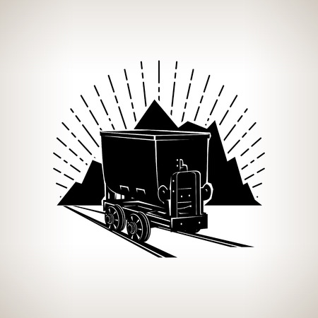 Silhouette coal mine trolley against mountains and sunburst,mining industry, label and badge mine shaft, coal mining, vector illustration