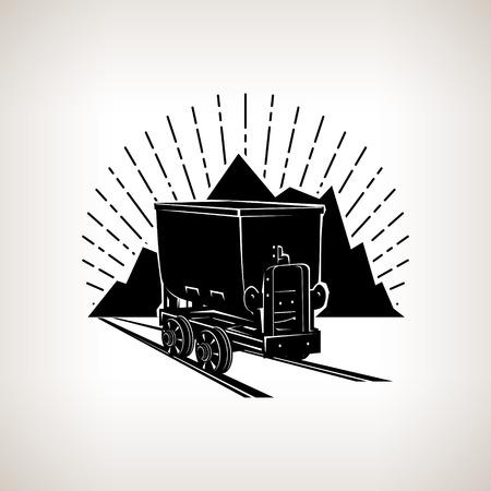 carbone: Silhouette miniera di carbone del carrello contro le montagne e raggera, industria mineraria, etichette e cartellini miniera, l'estrazione del carbone, illustrazione vettoriale Vettoriali