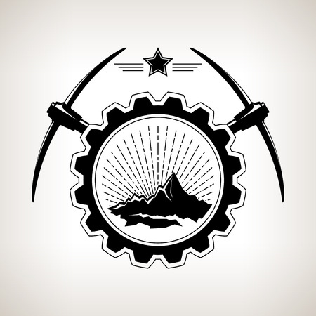 the shaft: Silhouette  of the mountains and sunburst  in badge ,vintage emblem of the mining industry, label and badge mine shaft, mining, black and white vector illustration