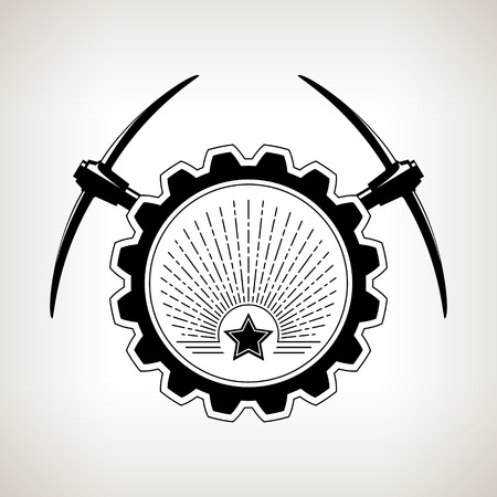 iron ore: Vintage emblem of the mining industry, label and badge mining,  black and white vector illustration