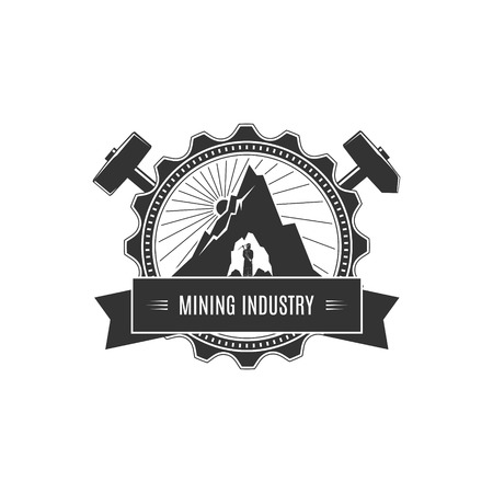 mining: Vintage Emblem of the Mining Industry,Miner Holding a Pickax on a Background of the Sunburst and Mountain, Label and Badge Mine Shaft, Mining, Vector Illustration