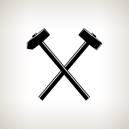 sledgehammer: Silhouette of a crossed hammer and sledgehammer on a light background, hand tool with a hard head attached perpendicular to the handle ,black and white vector illustration