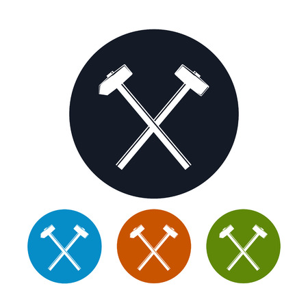 sledgehammer: Icon of a Crossed Hammer and Sledgehammer , the Four Types of Colorful Round Icons Hand Tool with a Hard Head Attached Perpendicular to the Handle , Vector Illustration