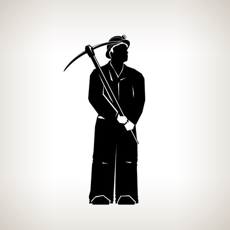 iron ore: Silhouette Miner ,Mining Industry, Miner Holding a Pickax on a Light Background, Black and White Vector Illustration