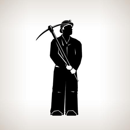prospector: Silueta Minero, Minería, Minero celebración de una piqueta sobre un fondo claro, Ilustración Blanco y Negro Vector