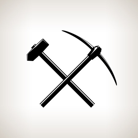 pickaxe: Silhouette of a Crossed Pickaxe and Sledgehammer on a Light Background, Hand Tool with a Hard Head Attached Perpendicular to the Handle ,Black and White Vector Illustration