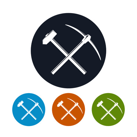 impact tool: Icon of a Crossed Pickaxe and Sledgehammer on a Light Background, the Four Types of Colorful Round Icons Hand Tool with a Hard Head Attached Perpendicular to the Handle , Vector Illustration