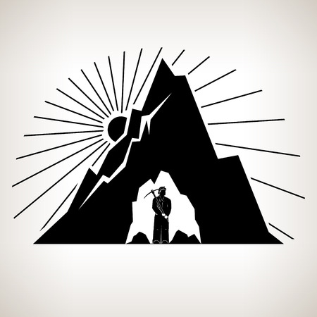 iron ore: Miner Holding a Pickax  in the Bowels of Mountains on a Background the Sunburst, Mining Industry, Black and White Vector Illustration Illustration