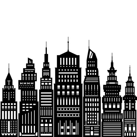 headquarter: Modern Big City with Buildings and Skyscraper, Architecture Megapolis, City Financial Center on a Light Background ,Black and White Vector Illustration