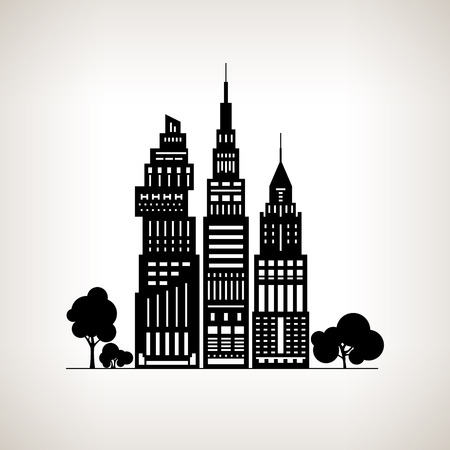 residential neighborhood: Silhouette Modern Big City with Buildings and Skyscraper, Architecture Megapolis, City Financial Center on a Light Background ,Black and White Vector Illustration