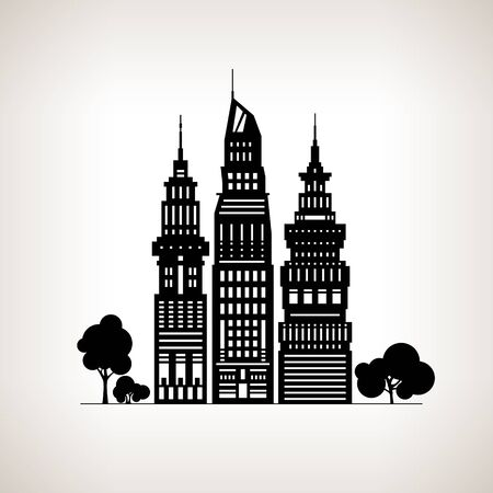 megapolis: Silhouette Modern Big City with Buildings and Skyscraper, Architecture Megapolis, City Financial Center on a Light Background ,Black and White Vector Illustration