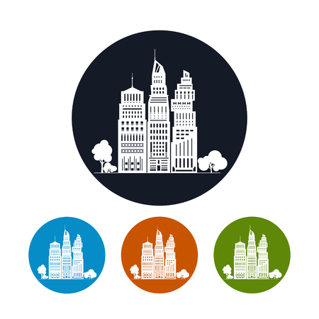 megapolis: Icon Modern Big City with Buildings and Skyscraper,the Four Types of Colorful Round Icons  Architecture Megapolis,Icon City Financial Center  , Vector Illustration