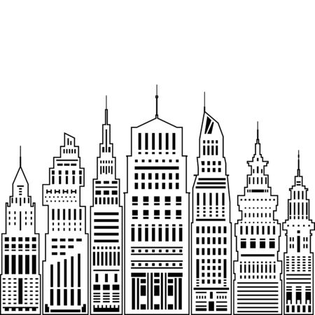 megapolis: Modern Big City with Buildings and Skyscraper, Architecture Megapolis, City Financial Center on a Light Background ,Black and White Vector Illustration