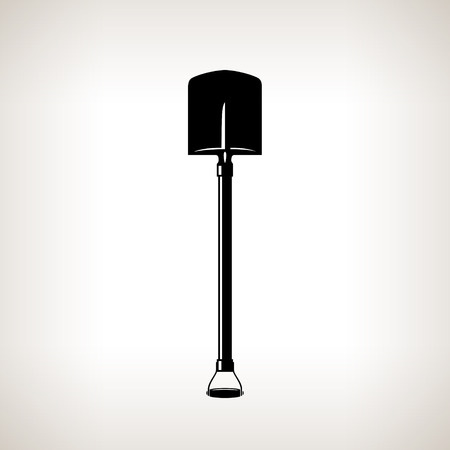 Silhouette of Shovel on a Light Background, a Tool for Digging,Black and White Vector Illustration Ilustração