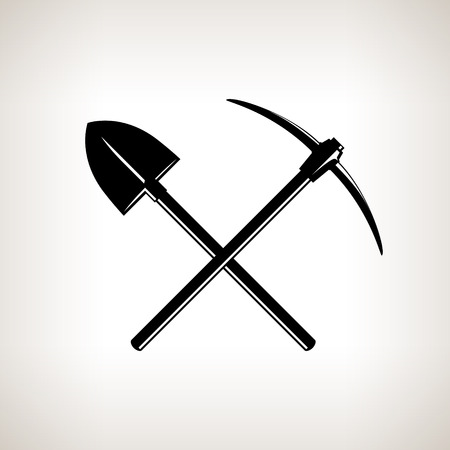 Silhouette of a Crossed Shovel and Pickaxe on a Light Background,Hand Tool with a Hard Head Attached Perpendicular to the Handle ,a Tools for Excavation,Black and White Vector Illustration Ilustração