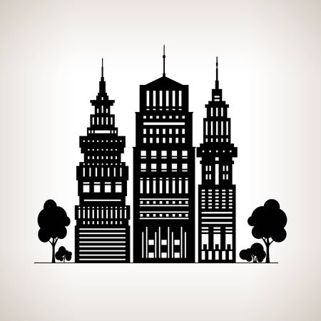built tower: Silhouette Modern Big City with Buildings and Skyscraper