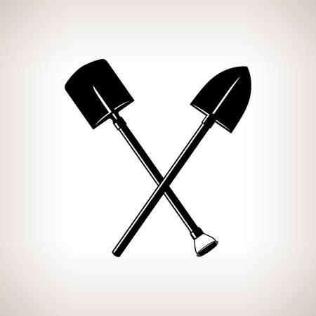 明るい背景に交差したシャベル、掘削、黒と白のベクトル図のツールのシルエット