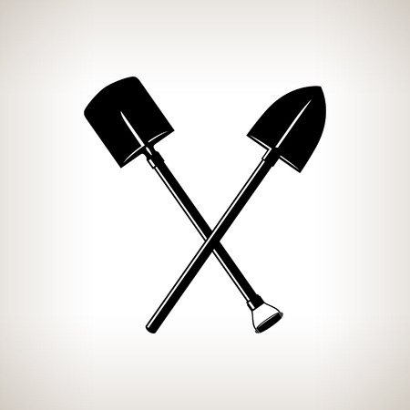 digging: Silhouette of a Crossed Shovels on a Light Background, a Tool for Digging,Black and White Vector Illustration