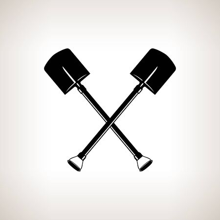 gopher: Silhouette of a Crossed Shovels on a Light Background