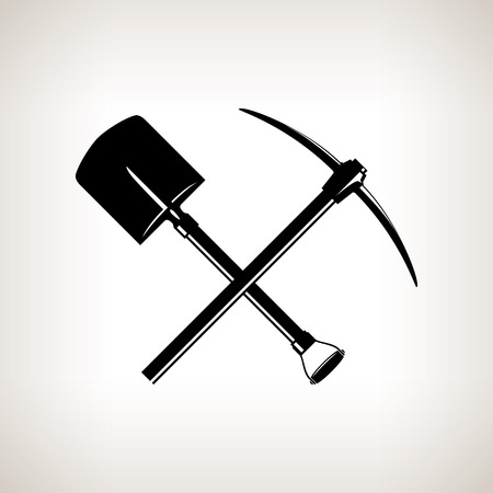 finder: Silhouette of a Crossed Shovel and Pickaxe on a Light Background Illustration