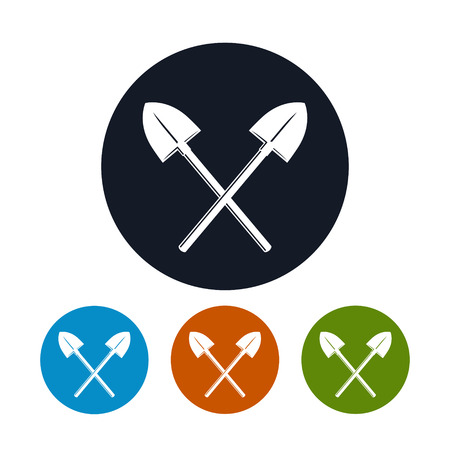 hand shovels: Icon of a Crossed Shovels , the Four Types of Colorful Round Icons  Tool for Digging, Vector Illustration