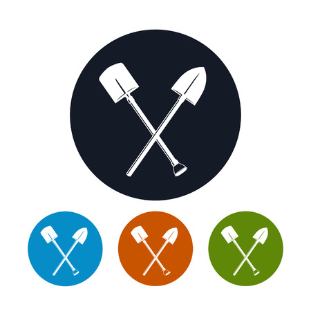 Icon of a Crossed Shovels , the Four Types of Colorful Round Icons  Tool for Digging, Vector Illustration