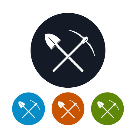 Icon of a Crossed Shovel and Pickaxe ,the Four Types of Colorful Round Icons Tools for Excavation, Vector Illustration