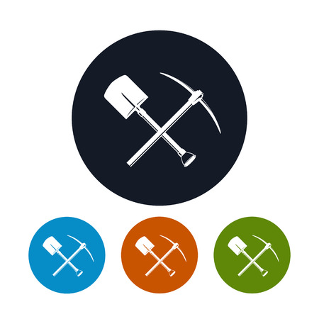 excavation: Icon of a Crossed Shovel and Pickaxe ,the Four Types of Colorful Round Icons Tools for Excavation, Vector Illustration