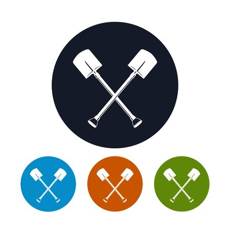 digging: Icon of a Crossed Shovels , the Four Types of Colorful Round Icons  Tool for Digging, Vector Illustration