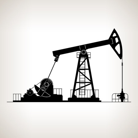 jack pump: Silhouette Pumpjack or Oil Pump ,also Called Oil Horse,  Pumping Unit,Gasshopper Pump, Big Texan, or Jack Pump, Overground Drive for a Reciprocating Piston Pump in an Oil Well, Vector Illustration