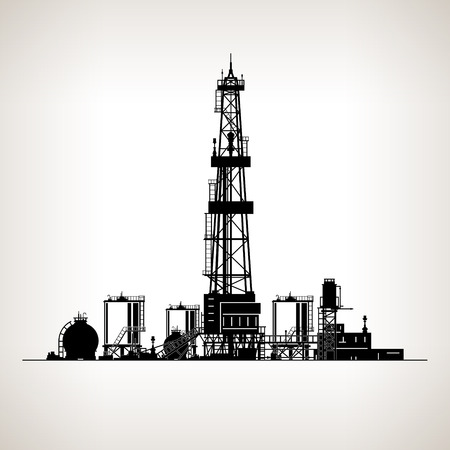 Silhouette Drilling Rig,  Oil Rig, Machine which Creates Holes in the Earth,Oil Well Drilling, Vector Illustration