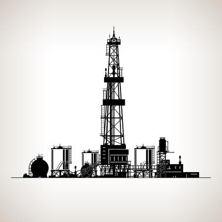 barril de petróleo: Rig silueta de perforación, plataforma petrolera, la máquina que crea agujeros en la tierra, aceite de perforación de pozos, ilustración vectorial