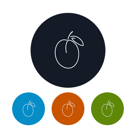 contours: Icon Plum  ,the Four Types of Colorful Round Icons Plum in the Contours, Vector Illustration Illustration