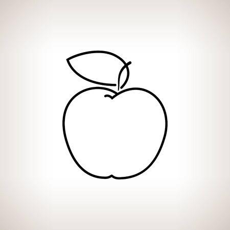 konturen: Apfel, Apfel in den Konturen, Schwarz und Wei� Vector Illustration
