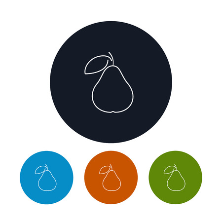 contours: Icon Pear  ,the Four Types of Colorful Round Icons Pear in the Contours, Vector Illustration Illustration