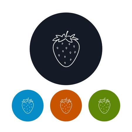 konturen: Icon Erdbeere, die vier Arten von Colorful Round Icons Strawberry in den Konturen, Vektor-Illustration Illustration