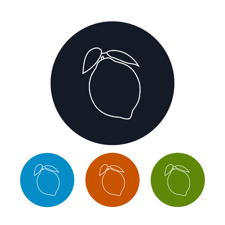 ripened: Icon Lemon ,the Four Types of Colorful Round Icons Lemon in the Contours, Vector Illustration