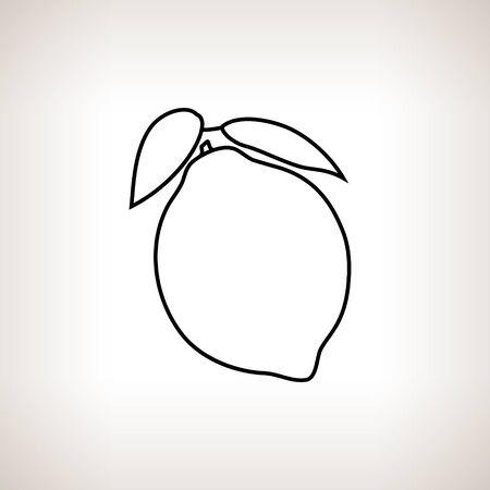 konturen: Zitrone, Zitrone in den Konturen auf einem hellen Hintergrund, Schwarz-Wei�-Vektor-Illustration