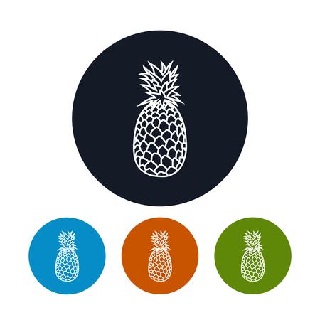 konturen: Icon Ananas, die vier Arten von Bunte Runde Icons Ananas in den Konturen, Vektor-Illustration