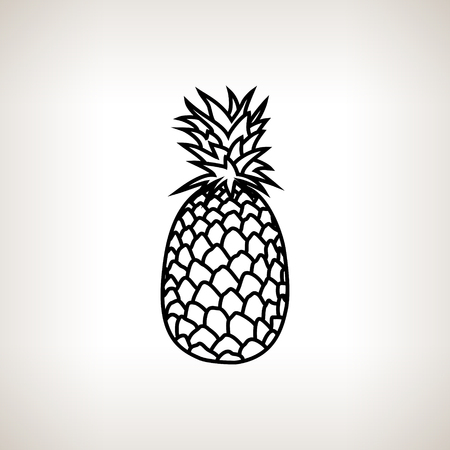 vector image: Pineapple  ,Image Ananas in the Contours on a Light Background, Black and White Vector Illustration Illustration