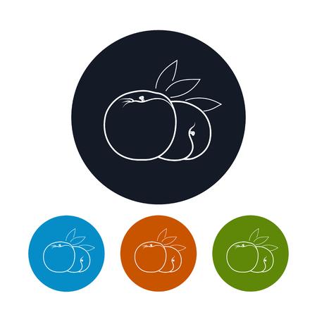 konturen: Icon Peach, die vier Arten von Colorful Round Icons Peach in den Konturen, Vektor-Illustration