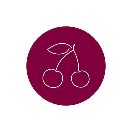 cereza: Cherry, colorido Ronda Icono Cerezo o cerezas, Icono de la fruta, Prunus avium, cerezo silvestre, cereza dulce, cereza de p�jaro o Gean, ilustraci�n vectorial