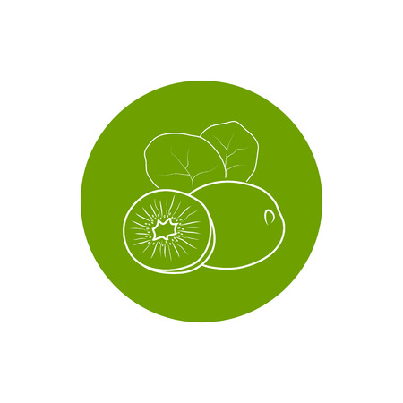 honeyed: Kiwifruit, Colorful Round  Icon Kiwi