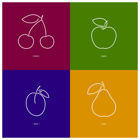 ripened: Icon Apple, Cherry,Plum,Pear in the Contours on a  Colored Background, Vector Illustration