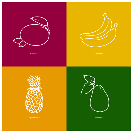ripened: Icon Mango,Banana,Pineapple,Avocado  in the Contours on a  Colored Background, Vector Illustration